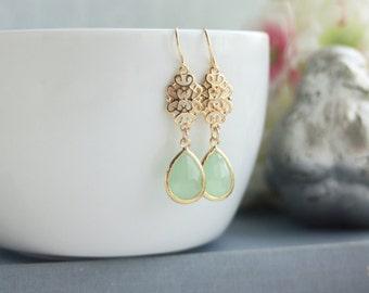 Mint Glass Filigree Gold Dangle Drop Earrings, Bridesmaid Gifts, Mint Gold Wedding. Bridal Earring. Dainty Everyday Earrings, Mint Teardrop
