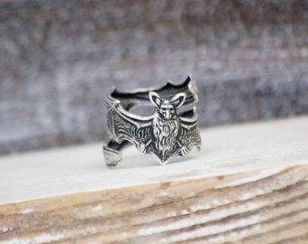 Bat Ring Antiqued Silver Bat Jewelry  Gift for Him Rustic Steampunk Thumb Ring Goth Vampire Bat Batman Gift for Her Halloween Bat Thumb Ring