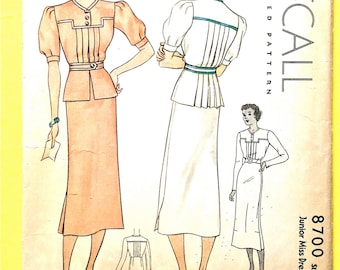 1930s McCall 8700 Misses'  Dress Printed Pattern Vintage Sewing Pattern Bust 32
