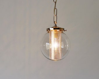 Globe Pendant Light, Modern Hanging Pendant Lamp, Clear Glass Globe Shade, Silver Chain and Shade Insert, Bulb Included