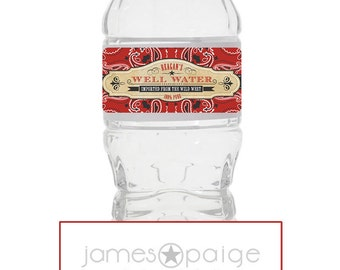 """Cowboy Themed Personalized """"100% Pure Well Water"""" Water Bottle Labels -  Digital File"""