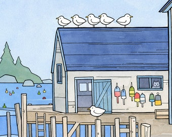 Whimsical New England illustration, lobster buoys art print, kids room decor 5x7