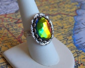 Gorgeous Vintage Glass Rainbow - Silver Adjustable Ring - Handmade Jewelry by HoneyNest