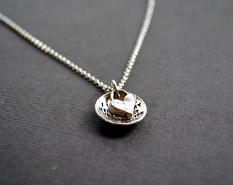 Valentine's Day Gift Idea - HEART Necklace - Custom Message Sterling Silver Necklace - Mothers Necklace - Gift for Wife