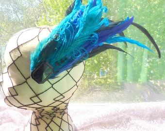 Fancy Peacock Feather Hair Clip, Turquoise Blue Fascinator, Gatsby Wedding Hair, Marie Antoinette, Halloween Costume, I am Joolienn