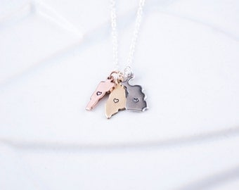 Multiple States Necklace, 2 States on 1 Chain, 3 States on a Chain in Rose, Gold or Silver, Moving Away Necklace, Friendship Jewelry