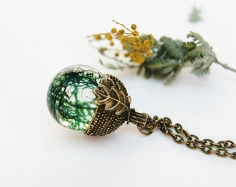 Acorn necklace. Acorn moss necklace. Woodland. Nature jewelry. Boho necklace. Botanical jewellery By OCEAN PETALS