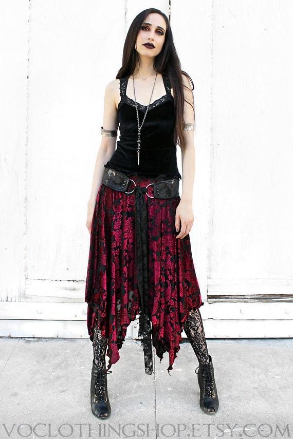 RED WINE VELVET witchy stretch velvet burnout maxi skirt