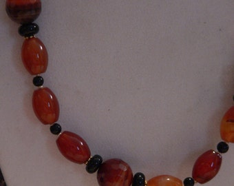 orange necklace, Gemstone necklace, Banded onyx, red agate necklace, boho necklace, statement necklace, orange and black