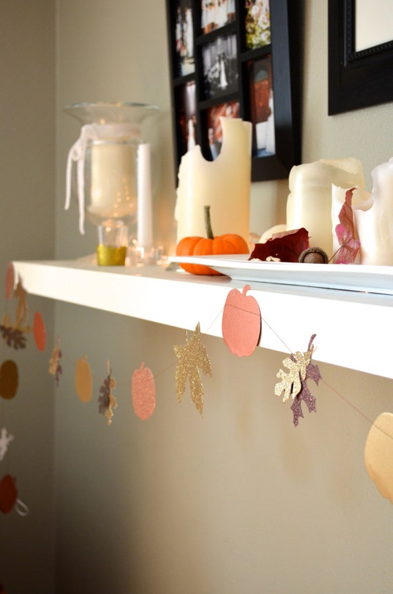 Glitter Autumn Leaves and Pumpkins Banner - festive gold, copper and bronze fall garland