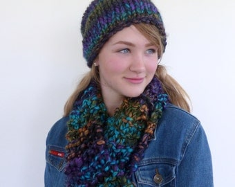 Chunky knit scarf, colorful chunky scarf, colourful hand knitted long scarf, chunky scarf