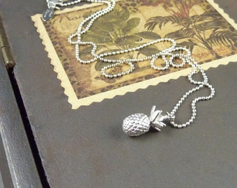 Warm Welcome. Silver Pineapple Necklace. 16k white gold plated. modern. delicate. whimsical. tropical. fruit. hawaii.