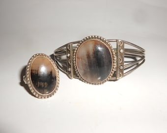 Petrified Wood Bracelet & Ring Set Sterling Silver Navajo Handcrafted Old Pawn Jewelry Vintage
