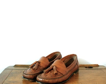 Vintage 80's tan brown loafers with tassel, Bass, leather loafers, men's 8