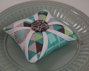 Cathedral Window Pincushion Gray and Turquoise Modern
