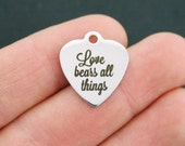 Love Stainless Steel Charm - Love Bears All Things - Exclusive Line - Quantity Options  - BFS675