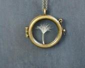 Bronze Dandelion Necklace, Round Dandelion Locket Pendant