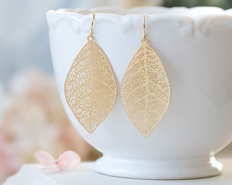 Gold Leaf Earrings Gold Filigree Leaf Dangle Earrings Woodland Jewelry Bohemian Earrings Boho Chic Modern Everyday Earrings Gift Idea