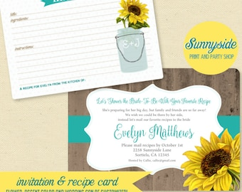 LONG DISTANCE Recipe Bridal Shower Invitation & Recipe Card, Printable, Printed, Sunflower Peony You Choose Flower, Shower by Mail, Rustic