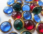Vintage Bezel Set Rounded Glass Drops