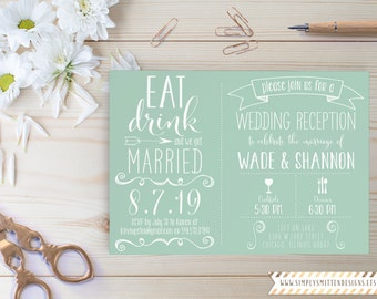 Eat Drink Be Married - We Got Married - DIY Invitation Suite - Destination Wedding - Reception Only - Married Announcement - We Eloped Card