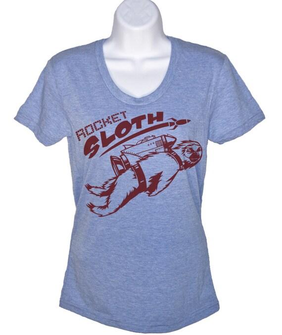 Womens Rocket Sloth T Shirt - American Apparel Tshirt - S M L Xl (4 Color Options)