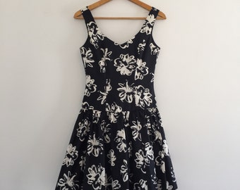 Vintage 80's Black and White Laura Ashley Party Dress S