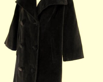 Vintage Black Velvet Double Breasted Swing Coat Mid-Century Jacket Women's Size Medium