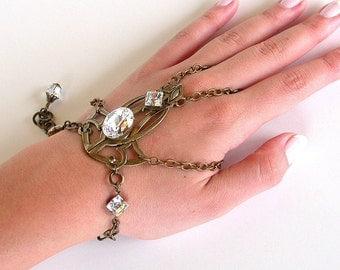 Gothic Slave Bracelet Brass Chain Bracelet Ring Art Nouveau Swarovski Crystal Slave Bracelet Gothic Wedding Jewelry