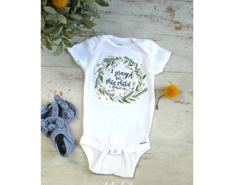 Baby Girl Onesie, I Prayed For This Child, Baby Shower Gift, Baby Girl Outfit, Hipster Baby Onesie, Wreath Onesie, Mukibaba Baby Bodysuit