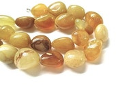 Agate Gemstones, Chunky Stones, Yellow Honey Gold, Chunky Nuggets 14mm 16mm - 12 Large Stone Beads