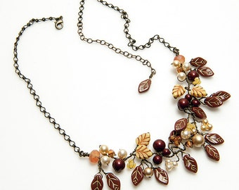 Brown Boho Necklace, Nature Jewelry, Brown Rustic Wedding Necklace, Brown Beaded Leaf Necklace