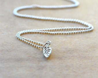 Sterling Silver Leaf Necklace, Tiny Silver Necklace, Dainty Silver Necklace, Wife Gift Silver Leaf Pendant, Delicate Silver Necklace Jewelry