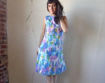 watercolors midi dress/ vintage 60s// small