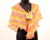 Hand knit lace shawl, lace shawl, warm, large, wide from pastel yarn fine wool