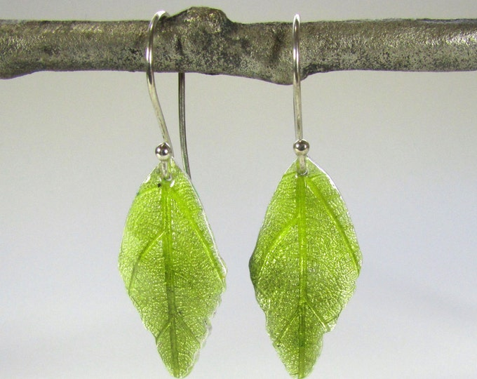 Olive green Leaf Earrings - Leaf earrings fine silver - silver leaf earrings enameled in olive green - gift for her