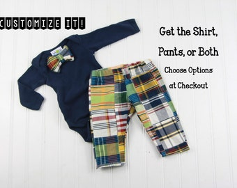 Plaid Bow Tie Outfit for Baby - Boys Bowtie Outfit - Bow Tie Shirt for Baby Boy - Madras Patchwork Plaid Pants - Coming Home Outfit for Boys