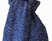 Hand Knit Scarf - Denim Cody Feather & Fan Mountain Meadow Wool