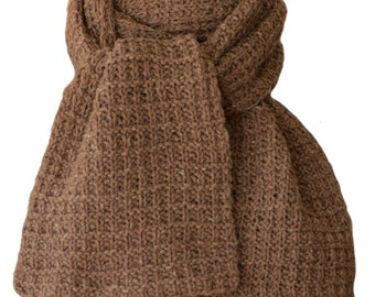 Hand Knit Scarf - Stoneground Tan Tweed Fence Rib Wool