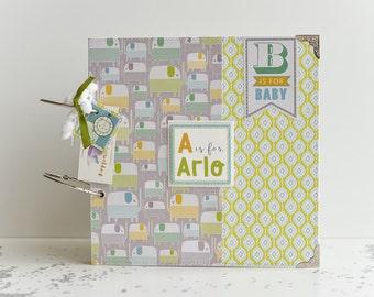 Personalized Scrapbook Album, Baby Boy Album, Custom Made Scrapbook, First Year Album