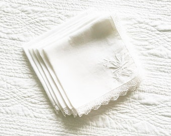 Vintage Cottage Home Snow White Floral Embroidered Lace Trimmed Table Napkins, Set of Five, Olives and Doves