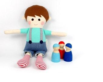boy rag doll | cloth doll for boys  | fabric rag doll | sebastian doll for boy  | handmade boy doll |  soft toy