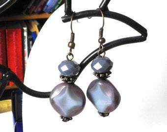 Dusty Purple Earrings Short Victorian Earrings Rustic Jewelry Pastel Earrings Lavender Earrings Vintage Style