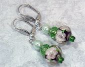 Flowered Lampwork Earrings - Dangle Earrings with Green Pearl & Crystal Beads, Nickle-Free Earwires, Handmade in the USA, Ready to Ship