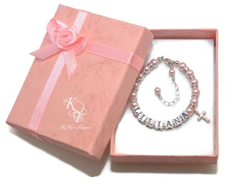 Personalized Baptism Gift, Baby Bracelet, Christening Bracelet, Baptism Bracelet, First Communion Gift, Little Girl Jewelry, Cross Bracelet