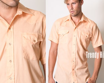 Men's shirt, Men's Orange shirt, Peach top, Men's Western shirt, Men's Vintage shirt, Men's 70s, Men's top - S/M