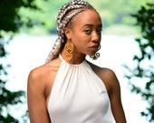 Sankofa // Adinkra // Afrocentric // Natural Wood Hand Stained Earrings // African and Caribbean Inspired Jewelry