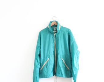 Minimal Sporty Teal Windbreaker Jacket