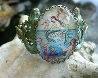 mermaid bracelet cuff mothers day  mermaid jewelry mermaid cameo seahorse  trio siren fantasy resort wear beach wear hipster gypsy boho