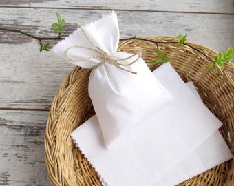 10 White favor bags, wedding cotton gift bags, holiday gift bags, candy bags, bridal favor bags - 4 х 6